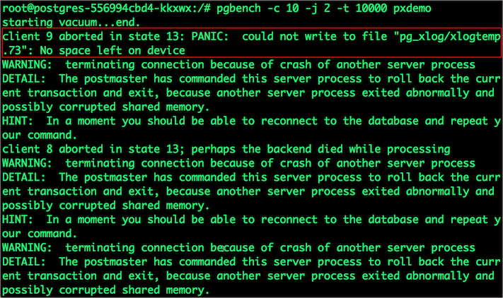 """PANIC: could not write to file """"pg_xlog/xlogtemp.73"""": No space left on device"""