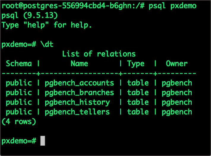 verify pgbench_accounts