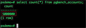 select count(*) from pgbench_accounts;