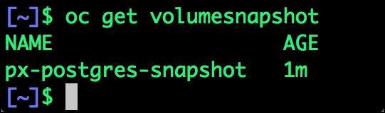 $ oc get volumesnapshot