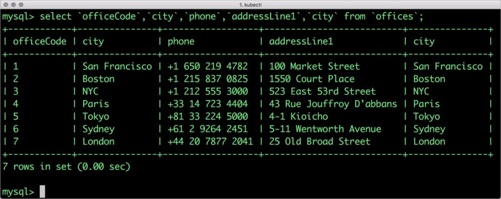 mysql> select `officeCode`,`city`,`phone`,`addressLine1`,`city` from `offices`;