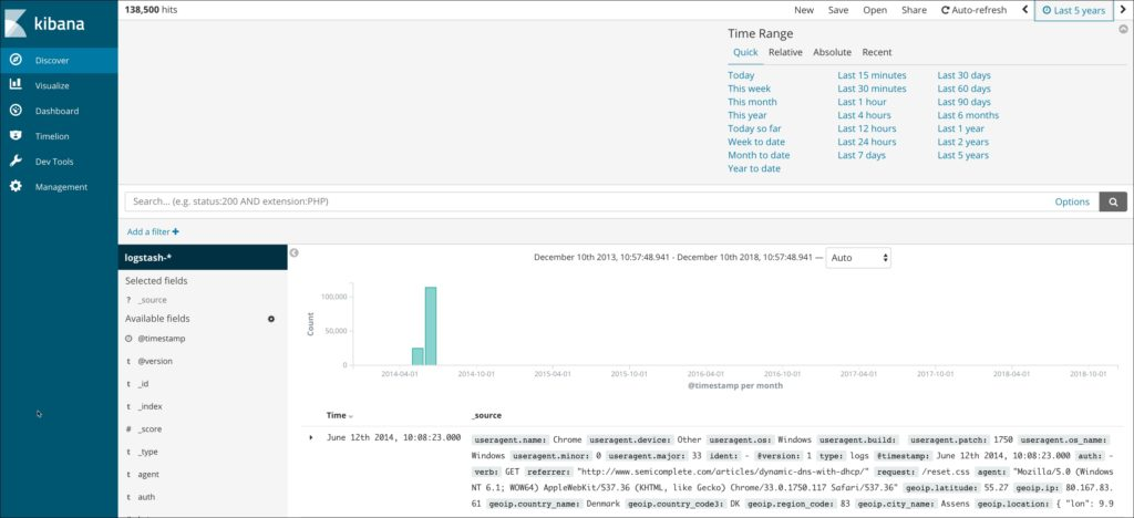 Apache logs in the dashboard