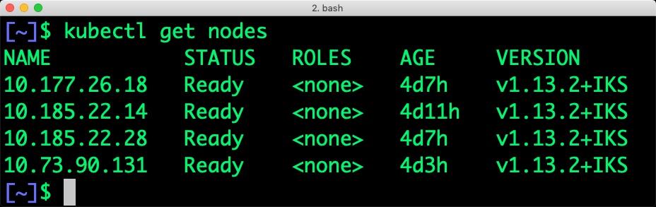$ kubectl get nodes