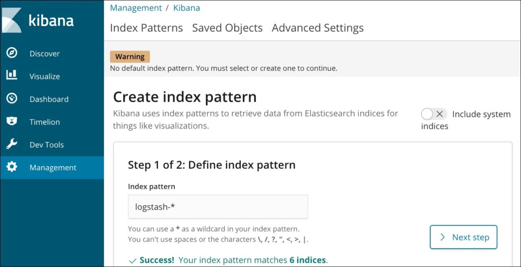 create index pattern kibana elk ibm iks step 1
