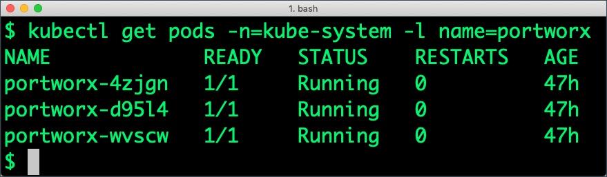 $ kubectl get pods -n=kube-system, -l name=portworx