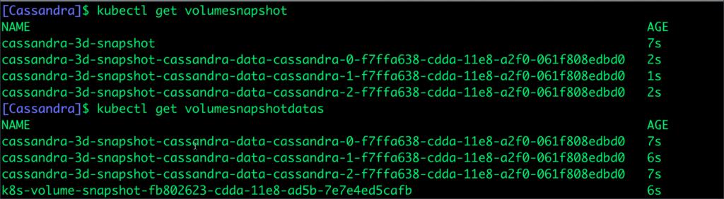 [Cassandra] $ kubectl get volumesnapshot