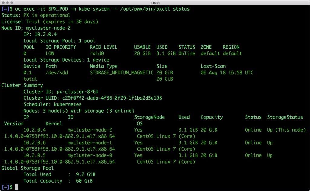 $ oc exec -it $PX_POD -n kube-system -- /opt/pwx/bin/pxctl status
