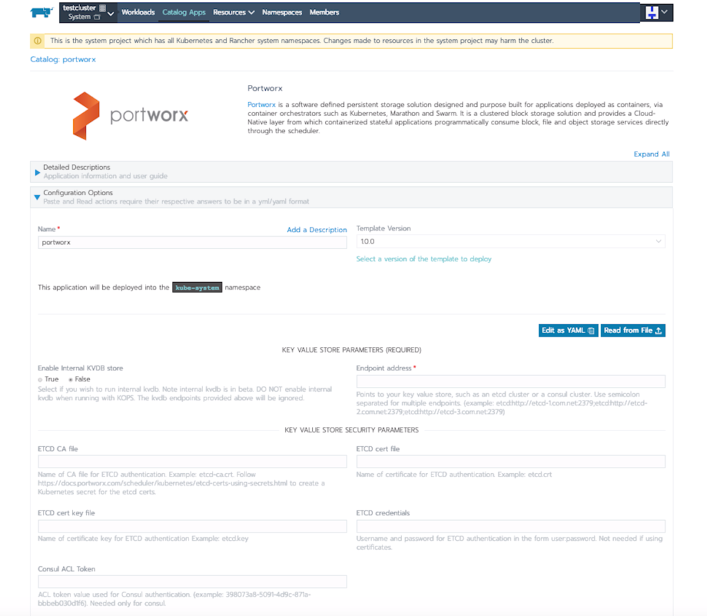 quick snapshot of the configuration of Portworx within Rancher Kubernetes Engine