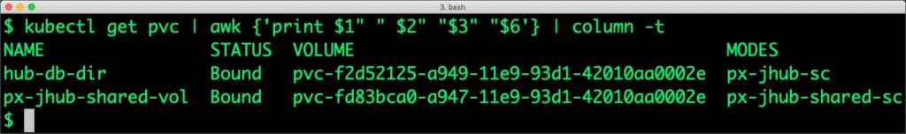 "$ kubectl get pvc | awk {'print $1"" ""$2"" ""$3"" ""$6'} | column -t"
