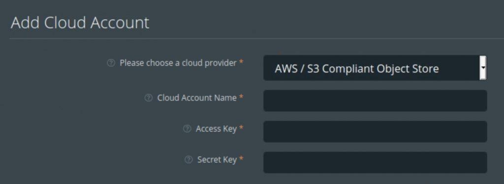 PX Backup - Add Cloud Account